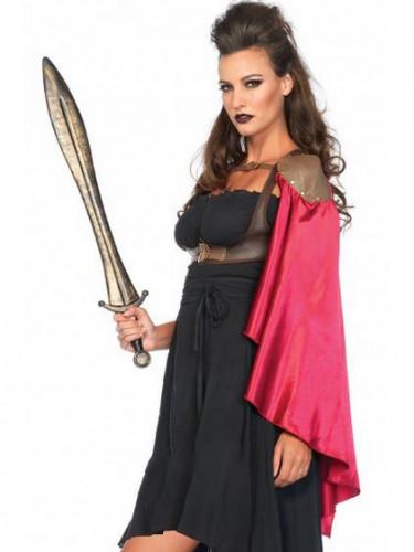 Cape satin rouge guerriere femme-1