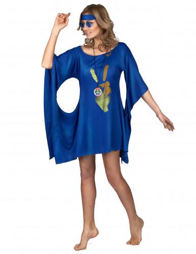 Déguisement robe hippie bleue peace & love femme-1