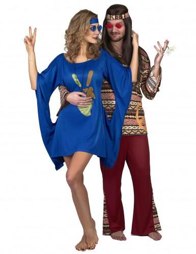 Déguisement robe hippie bleue peace & love femme-3