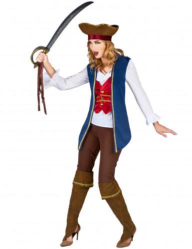 Déguisement veste pirate velours bleu et prune femme-1