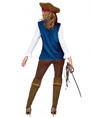 Déguisement veste pirate velours bleu et prune femme-2