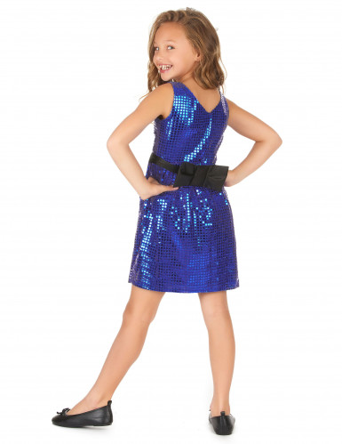 Déguisement robe disco bleue paillette avec gros noeud fille-2
