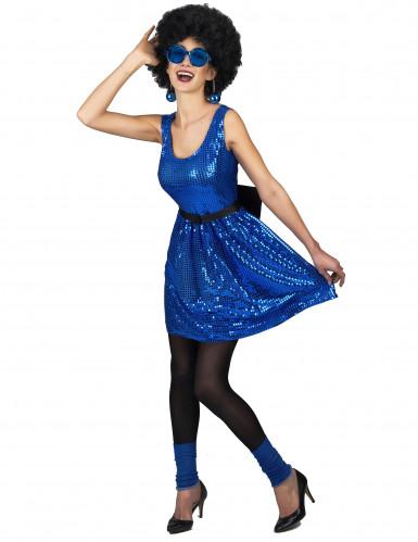Déguisement robe disco bleue paillette avec gros noeud femme