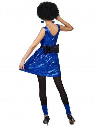 Déguisement robe disco bleue paillette avec gros noeud femme-2