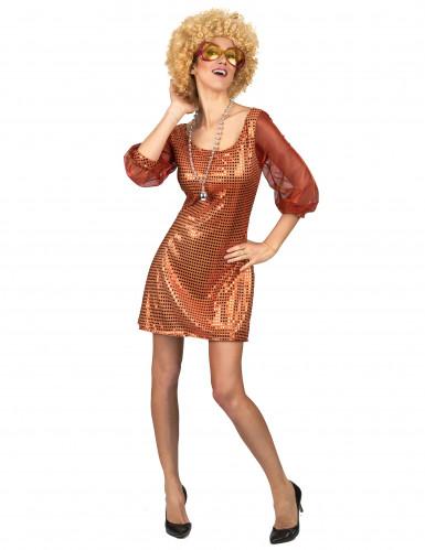 Déguisement robe disco orange paillette femme