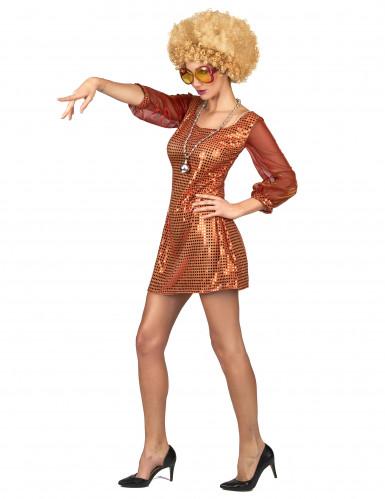 Déguisement robe disco orange paillette femme-1