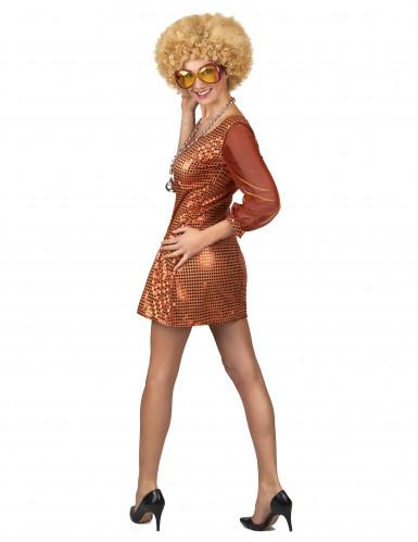 Déguisement robe disco orange paillette femme-2