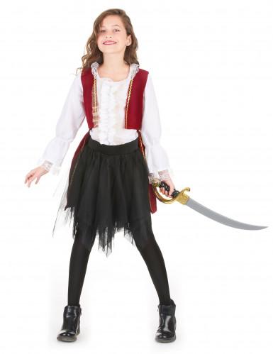 Déguisement pirate velours rouge pourpre et noir fille-1
