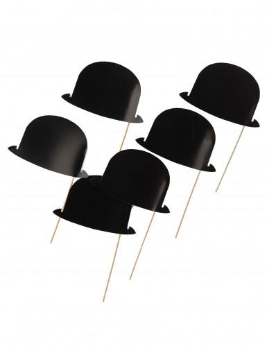 6 Chapeaux melons noirs pour photobooth