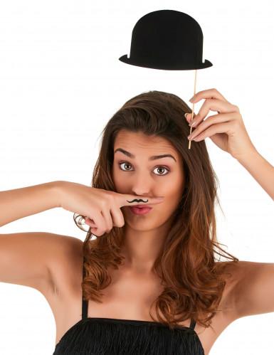 6 Chapeaux melons noirs pour photobooth-2