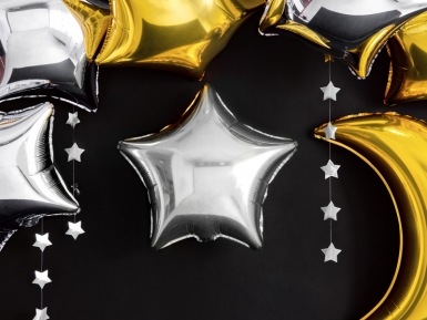 Ballon aluminium étoile argentée 45 cm-1