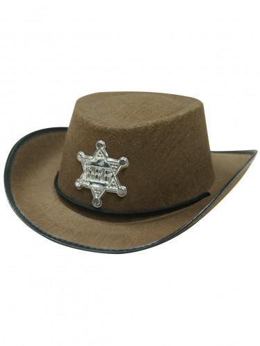 Chapeau shériff marron enfant