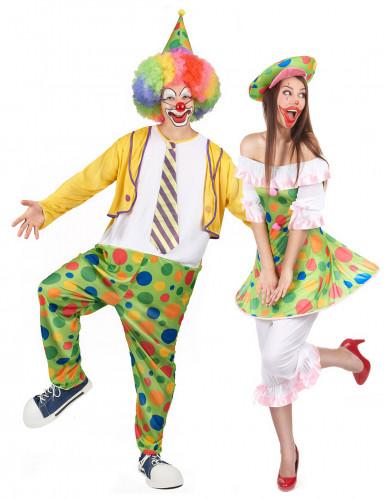 Déguisement de couple clown à pois adulte