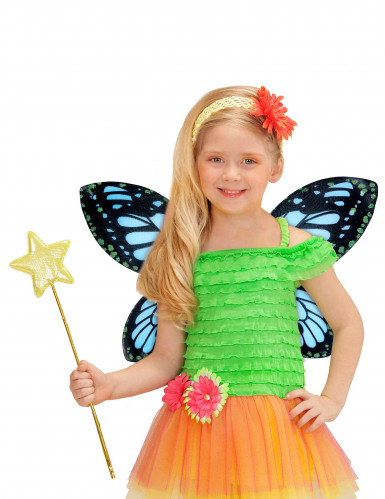 Ailes papillon noires et bleue fille-1