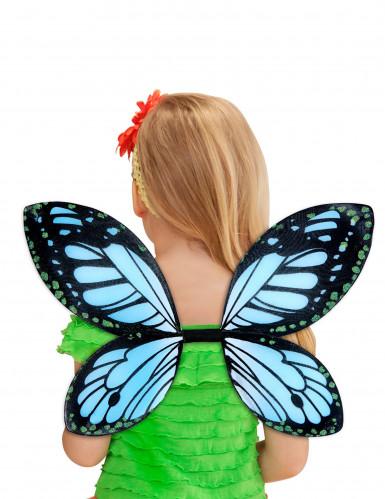 Ailes papillon noires et bleue fille-2