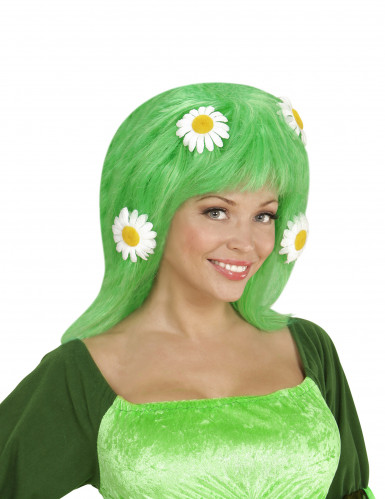 Perruque verte avec marguerites femme
