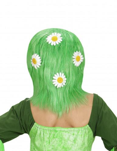 Perruque verte avec marguerites femme-1