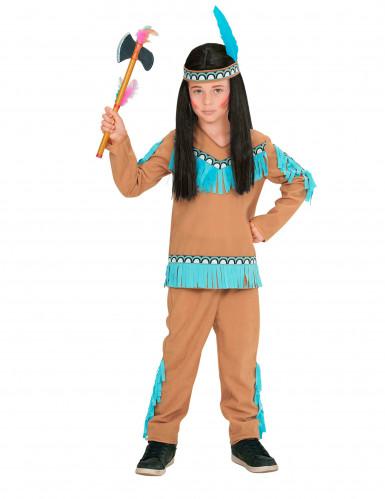 Déguisement petit indien marron et bleu garçon