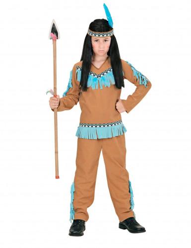 Déguisement petit indien marron et bleu garçon-1