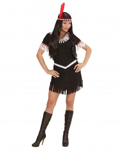 Déguisement indien noir et blanc femme-1