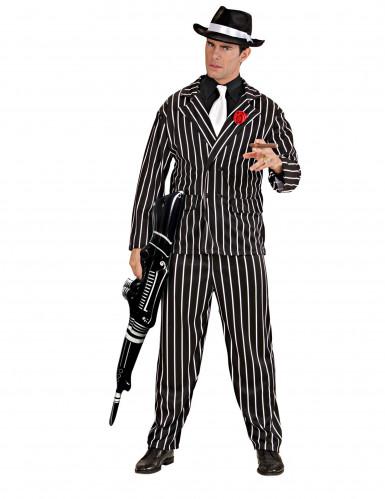Mitraillette gangster gonflable noire et blanche 90 cm-1