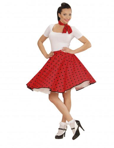 Jupe et foulard rouge à pois années 50 femme-1