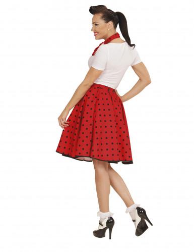 Jupe et foulard rouge à pois années 50 femme-2