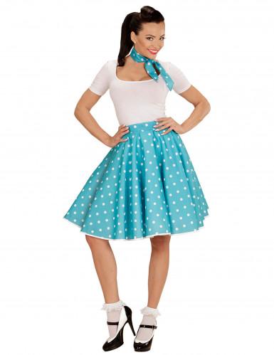 Jupe et foulard turquoise à pois années 50 femme-1