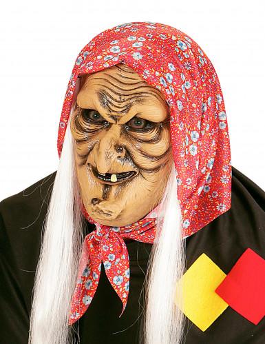 Demi masque vieille sorcière aux cheveux blancs adulte