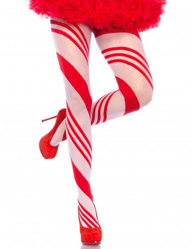Collants canne à sucre striés rouges et blancs femme
