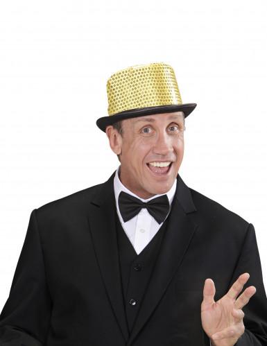 Chapeau haut de forme doré à sequins contour noir adulte-1