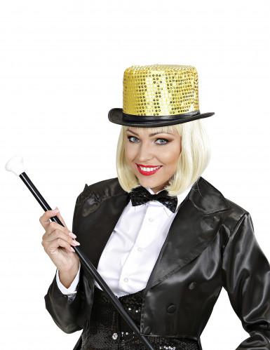 Chapeau haut de forme doré à sequins contour noir adulte-2