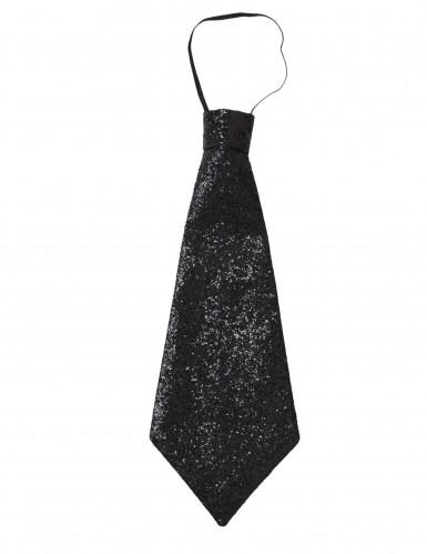 Cravate noire à paillettes adulte-2