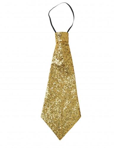 Cravate dorée à paillettes adulte-2