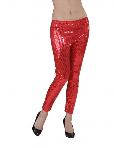 Legging rouge à sequins adulte-1