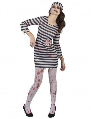 Déguisement effrayant prisonnière zombie femme