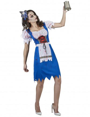 Déguisement zombie bavaroise bleue femme-1