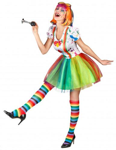 Déguisement clown peinture multicolore femme-1