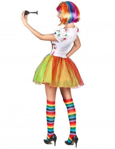 Déguisement clown peinture multicolore femme-2