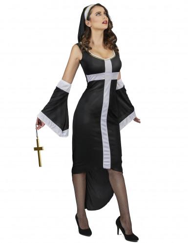 Déguisement nonne sexy croix blanche femme-1