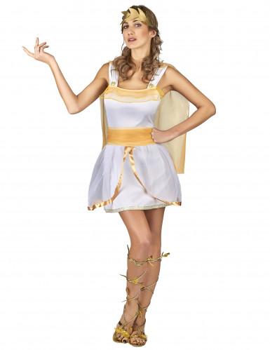 Déguisement déesse grecque blanche et or femme-1