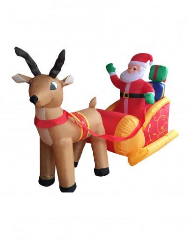 Décoration Père Noël sur son traîneau gonflable et lumineux 180 cm Noël