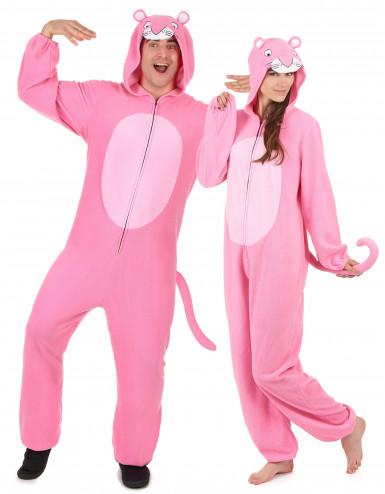 Déguisement de couple combinaison capuche panthère rose