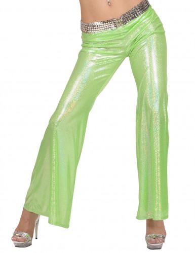 Pantalon disco holographique vert femme