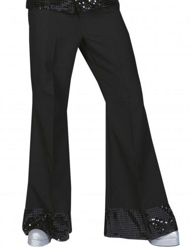 Pantalon disco noir avec sequins sur le bas homme