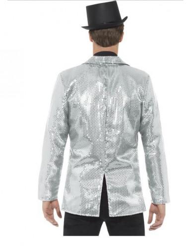 Veste disco argent à sequins luxe homme-1