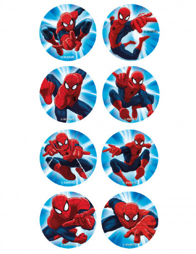 16 Mini disques en sucre Spiderman™ 3,4 cm