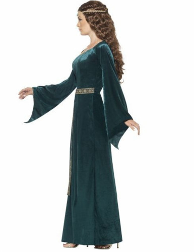 Déguisement reine médiévale verte femme-1