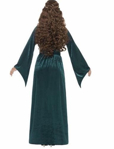Déguisement reine médiévale verte femme-2