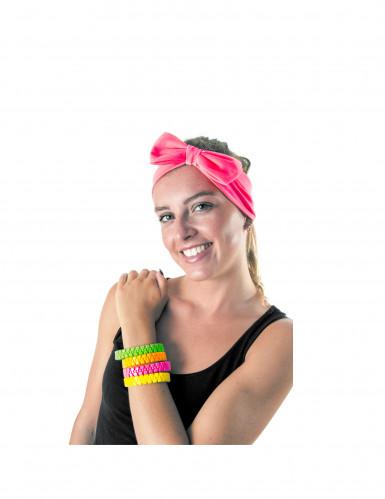 Bracelet zip rose fluo adulte-1